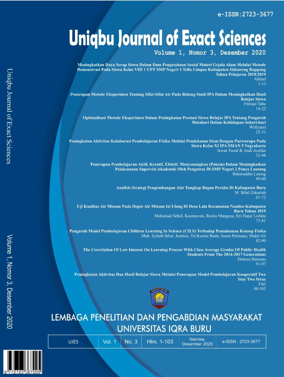 View Vol. 1 No. 3 (2020): Uniqbu Journal of Exact Sciences