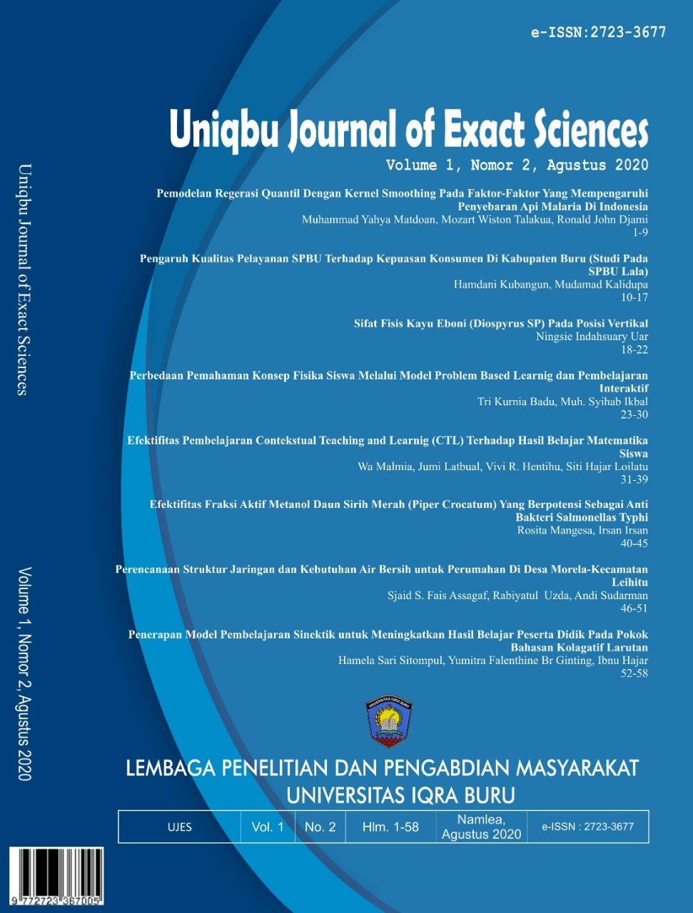 View Vol. 1 No. 2 (2020): Uniqbu Journal of Exact Sciences