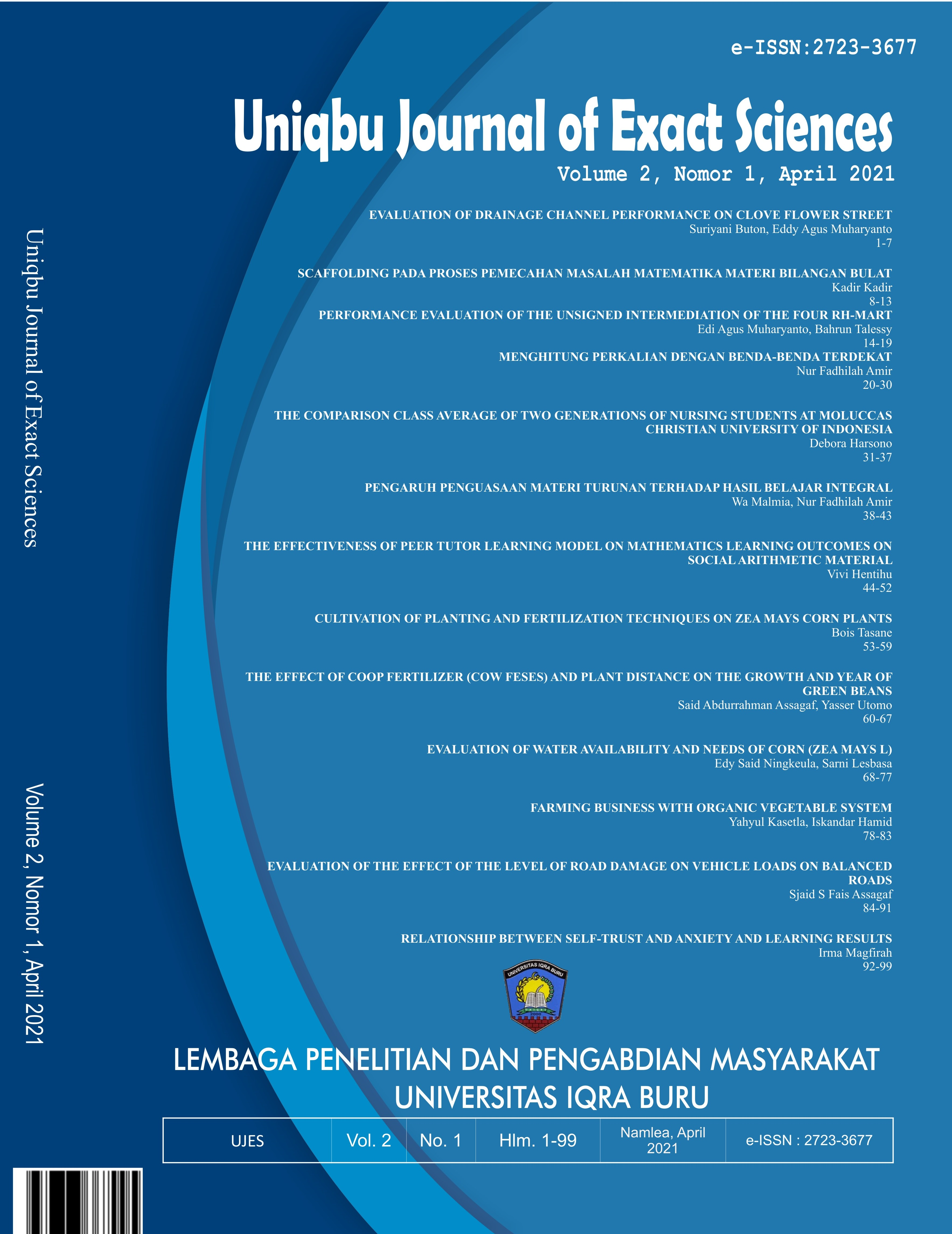 View Vol. 2 No. 1 (2021): Uniqbu Journal of Exact Sciences