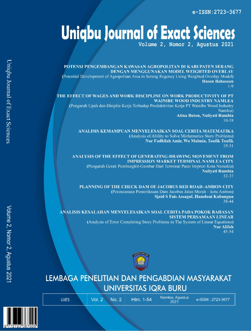 View Vol. 2 No. 2 (2021): Uniqbu Journal of Exact Sciences